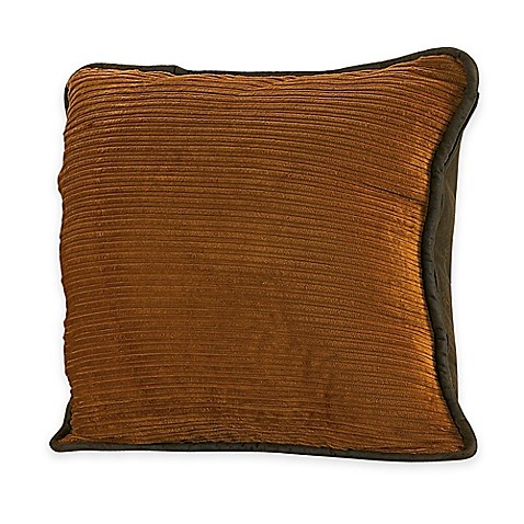 Brown Corduroy Throw Pillow : HiEnd Accents Ocala Corduroy Square Throw Pillow in Gold - www.BedBathandBeyond.com