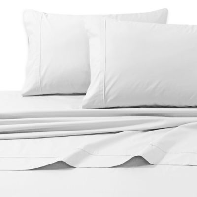 Tribeca Living 300-Thread-Count Egyptian Cotton Percale Queen Sheet Set in White