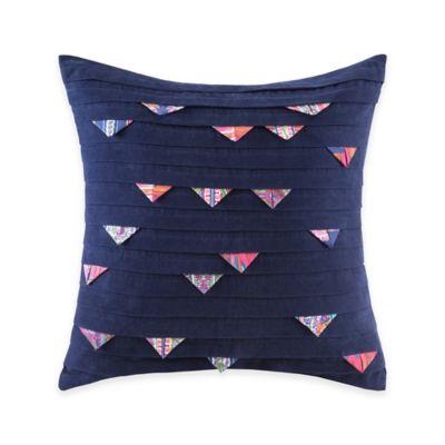 Josie by Natori Katina Square Throw Pillow in Dark Blue