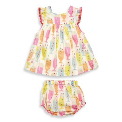 Pink Chicken Size 3-6M 2-Piece Zoe Flutter Sleeve Dress and Diaper Cover Set in Multicolor