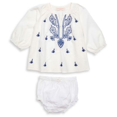 Pink Chicken Size 3-6M 2-Piece Ava Long Sleeve Tunic and Diaper Cover Set in White