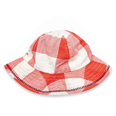 Pink Chicken Size 6-12M Checkered Sun Hat in Red