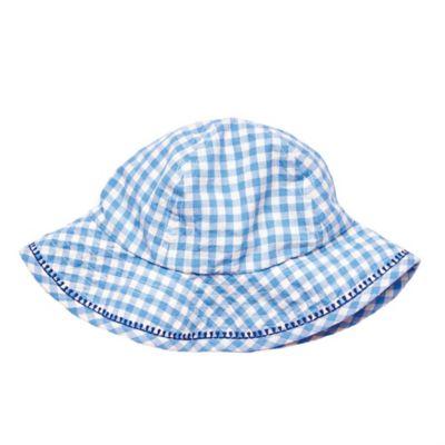 Pink Chicken Size 6-12M Gingham Sun Hat in Blue