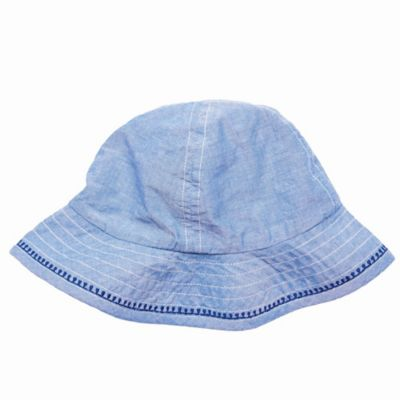 Pink Chicken Size 6-12M Chambray Sun Hat in Blue
