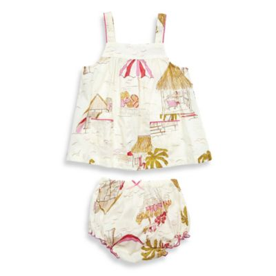 Pink Chicken Size 3-6M Georgia 2-Piece Top and Diaper Cover Set in Antique White