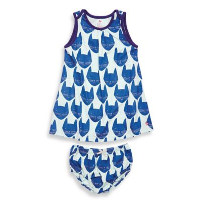 Pink Chicken Tara Cat Size 6-12M 2-Piece Top and Diaper Cover Set in Blue/White