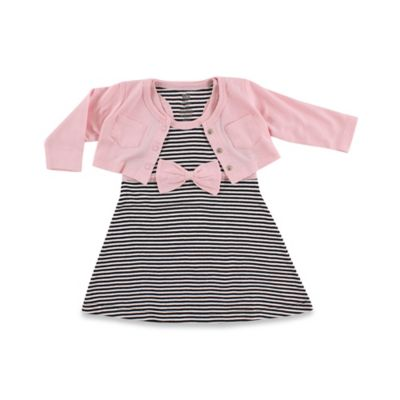 Baby Vision Hudson Baby Size 12-18M Cropped Cardigan with Racerback Dress 2-Piece Set in Black/Pink