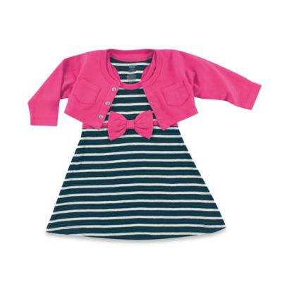 Baby Vision Hudson Baby Size 9-12M Cropped Cardigan with Racerback Dress 2-Piece Set in Black/Pink