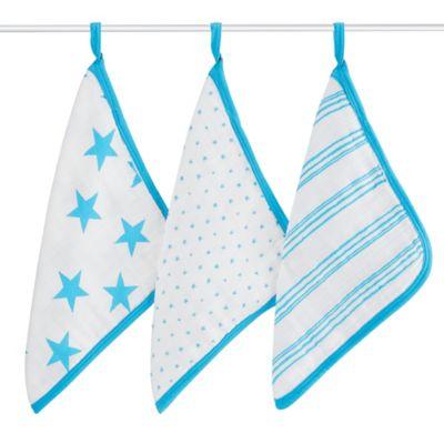 aden + anais® 3-Pack Washcloths in Fluro Blue
