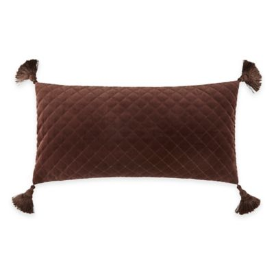Waterford® Linens Hilliard Velvet Oblong Throw Pillow in Chocolate