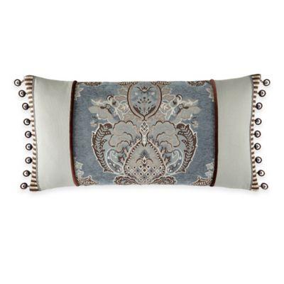 Waterford® Linens Hilliard Foulard Oblong Throw Pillow in Aquamarine/Chocolate