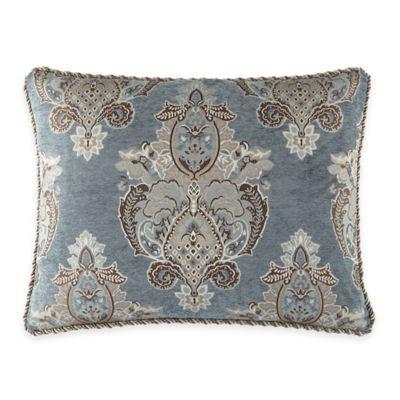 Waterford® Linens Hilliard King Pillow Sham in Aquamarine/Chocolate
