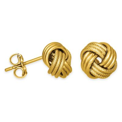 14K Yellow Gold Textured Love Knot Stud Earrings
