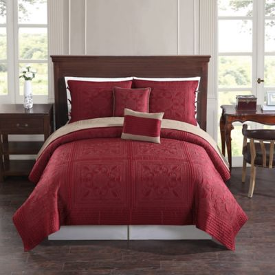 Baroque Tile Reversible Twin Quilt Set in Red