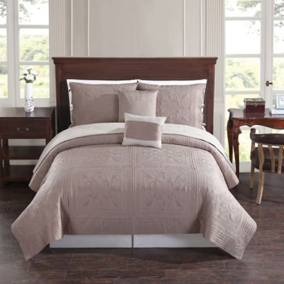 Baroque Tile Reversible King Quilt Set in Taupe