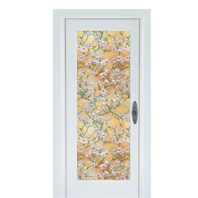 Dogwood Premium Static Cling Glass Door Film in Gold