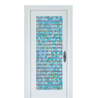 Peacock Premium Static Cling Glass Door Film in Blue/Green