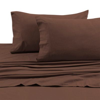 Tribeca Living 170 GSM Solid Flannel Deep Pocket Full Sheet Set in Chocolate