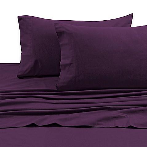 buy tribeca living 170 gsm solid flannel deep pocket queen sheet set in purple from bed bath. Black Bedroom Furniture Sets. Home Design Ideas
