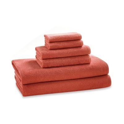 Kassatex Abeille Collection Etoile Hand Towel in Papaya