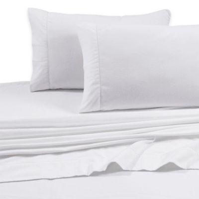 Tribeca Living 200 GSM Solid Flannel Deep Pocket California King Sheet Set in White