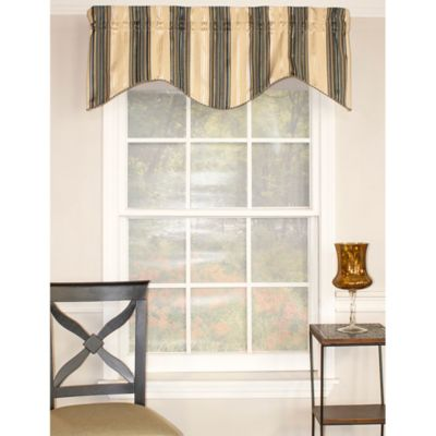 RL Fisher Shelby Stripe Bravo Valance in Blue/Cream