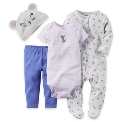 carter's Newborn 4-Piece Mouse Footie, Bodysuit, Pant, and Hat Set in Purple/Pink