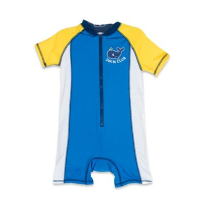 Wippette Size 0-6M Boy's 1-Piece Zip-Front Swimsuit in Royal Blue/Yellow