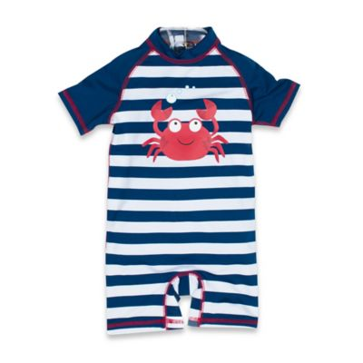 Wippette Size 0-6M Boy's 1-Piece Crab Swimsuit in Navy/Red