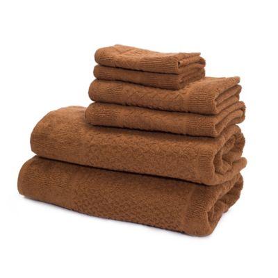 Mei-tal Turkish Cotton Jacquard Bath Towels in Light Brown (Set of 6)