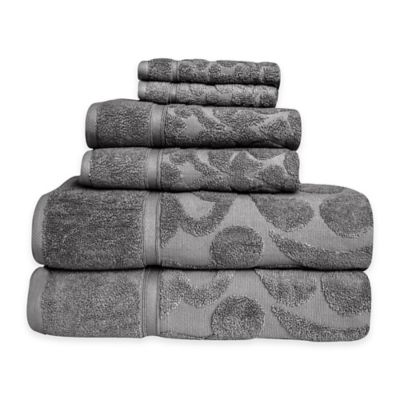 Duchene Turkish Cotton Jacquard 6-Piece Towel Set in White