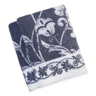 Blue Patterned Bath Towels