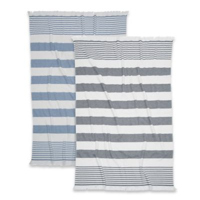 Carmel Stripe Turkish Cotton Beach Towel in Black