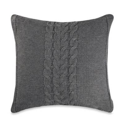Vera Wang™ Nordic Leaves Cable Knit Square Throw Pillow in Grey