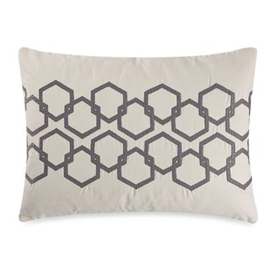 Vera Wang™ Nordic Leaves Embroidered Hexagon Oblong Throw Pillow in Ivory