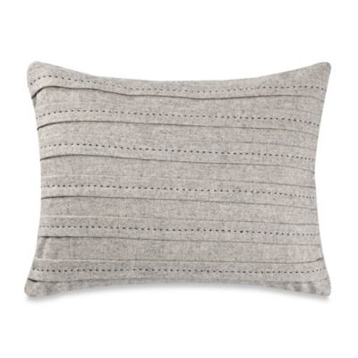 Vera Wang™ Nordic Leaves Decorative Pleat Oblong Throw Pillow in Heather Grey