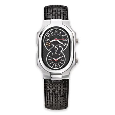 Philip Stein Men's Signature Black Dial Watch in Stainless Steel with Leather Woven Strap
