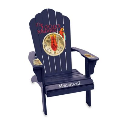 "Margaritaville® ""It's 5 O'Clock Somewhere"" Wood Adirondack Chair in Blue"