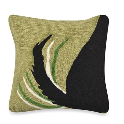 Liora Manne Frontporch Woof Square Throw Pillow in Green