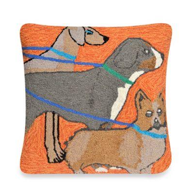 Liora Manne Frontporch Dog Walk Square Throw Pillow in Orange