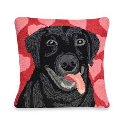 Liora Manne Frontporch Puppy Love Square Throw Pillow in Blue