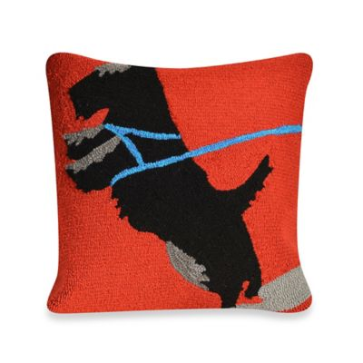 Liora Manne Frontporch Who's Walking Who Square Throw Pillow in Red
