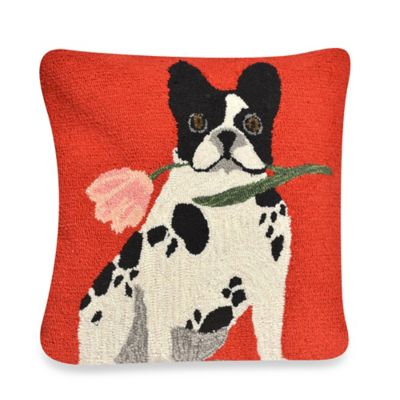 Liora Manne Frontporch Flowery Frenchy Square Throw Pillow in Red