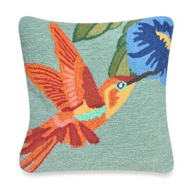 Liora Manne Frontporch Hummingbird Square Throw Pillow in Blue