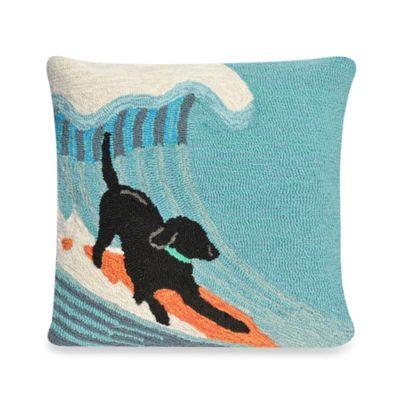 Liora Manne Frontporch Surfing Dog Square Throw Pillow in Ocean