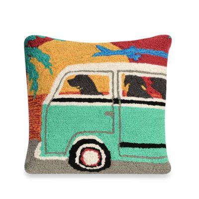 Liora Manne Frontporch Beach Trip Sunset Square Throw Pillow