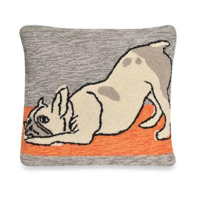 Liora Manne Frontporch Yoga Dog Square Throw Pillow