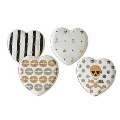 "Betsey Johnson® ""Hi-Shine"" Heart Shaped Dessert Plate Set (Set of 4)"