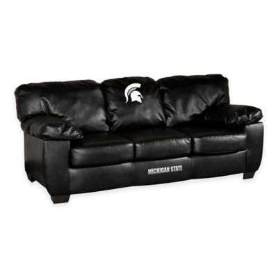 Michigan State University Black Leather Classic Sofa