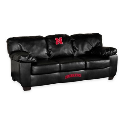 University of Nebraska Black Leather Classic Sofa